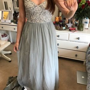 Embroidered light blue prom dress anthropologie